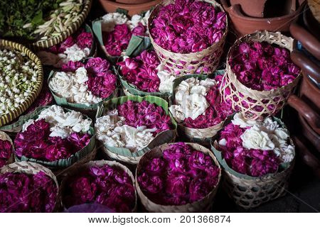 a flower sell in wooden traditional box for funeral or festival java