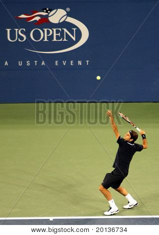FLUSHING, NY - AUGUST 30: Number two-ranked tennis player Roger Federer plays in the 2010 US Open at Arthur Ashe Stadium at Billie Jean King National Tennis Center on August 30, 2010 in Flushing, NY.