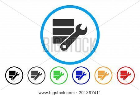 Database Wrench Tools vector rounded icon. Image style is a flat gray icon symbol inside a blue circle. Bonus color variants are grey, black, blue, green, red, orange.