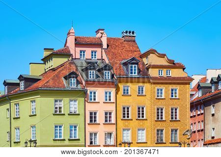 Colored Old European Houses In Warsaw