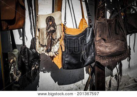 a boho bohemian bag hanging on the store market in malioboro street jogja yogyakarta indonesia java