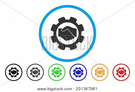 Smart Contract Setup Gear vector rounded icon. Image style is a flat gray icon symbol inside a blue circle. Additional color variants are grey, black, blue, green, red, orange.