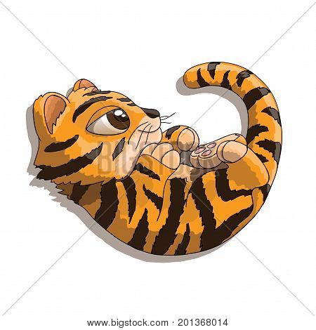 Cute furry tiger cub cartoon character playing with his tail