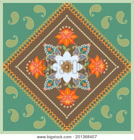 Unique floral pattern with stylized daffodil flower and paisley. Medallion. Lovely tablecloth, packaging design, square rug. Bandana print, greeting card, pillowcase.