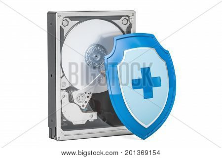 Hard Disk Drive HDD with shield. Security and protection concept 3D rendering isolated on white background