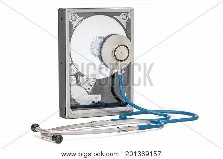 Hard Disk Drive HDD with stethoscope. Recovery and repair concept 3D rendering isolated on white background