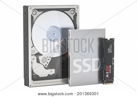 Solid state drive SSD Hard Disk Drive HDD and M2 SSD 3D rendering isolated on white background