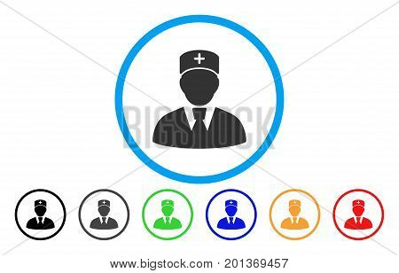 Head Physician vector rounded icon. Image style is a flat gray icon symbol inside a blue circle. Bonus color versions are gray, black, blue, green, red, orange.