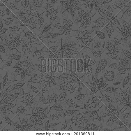 Vector smoky outline seamless background sketch autumn leaves. Autumnal pattern with herbal graphics. To design card in the classical style, on the website and printing on fabric.