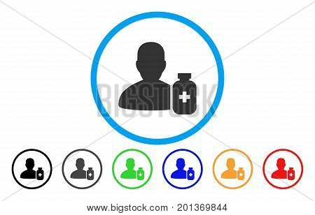 Pharmacist Medicine vector rounded icon. Image style is a flat gray icon symbol inside a blue circle. Bonus color versions are gray, black, blue, green, red, orange.