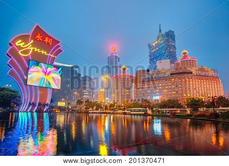 View Of Macao City At Night In Macao, China