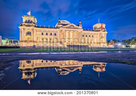 Night At The Reichstag Building In Berlin, Germany (the Dedication Dem Deutschen Volke, Meaning To T