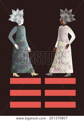 Abstract fashion girls models in floral paisley helmets. African and european females isolated on black background. Space for text. Feng shui trigram kun - the personification of the feminine.