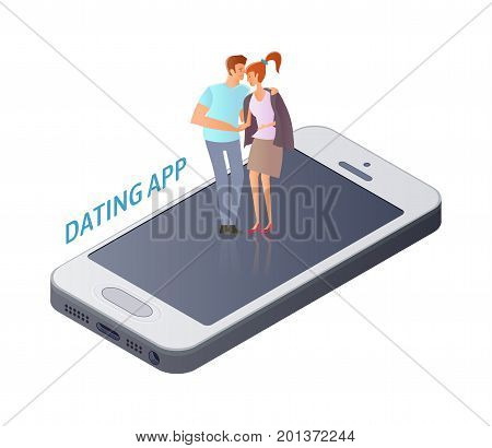 Mobile Dating app concept. Young couple, man and woman on a romantic date on the smartphone screen. Vector illustration, isolated on white background.