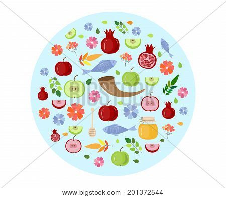 Shana tova. Rosh Hashanah. Jewish new year celebration. Vector illustration Rosh hashanah (jewish new year) holiday banner design.