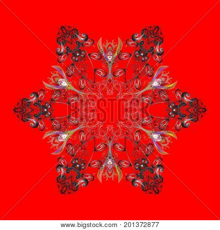 Flat design with abstract snowflakes isolated on colors background. Snowflakes pattern. Snowflake colorful pattern. Vector snowflakes background. Vector illustration.