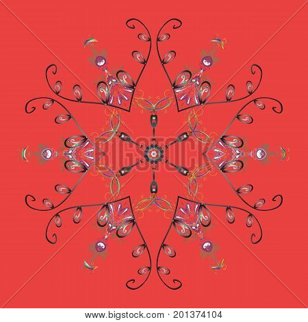 Snowflakes pattern. Vector illustration. Flat design with abstract snowflakes isolated on colorful background. Snowflake ornamental pattern. Snowflakes background.