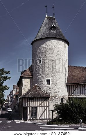 Wall and tower in the old town of Troyes France