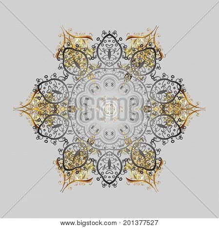 Snowflakes pattern. Vector illustration. Snowflake colorful pattern. Vector snowflakes background. Flat design with abstract snowflakes isolated on colors background.