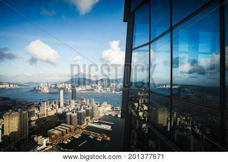 Hong Kong skyline view from Sky 100 observation deck Hong Kong China