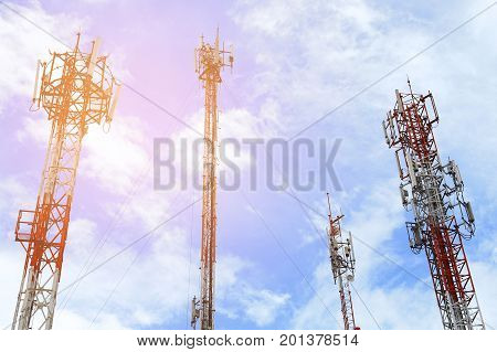 Mobile cellular tower with blue sky backgorund