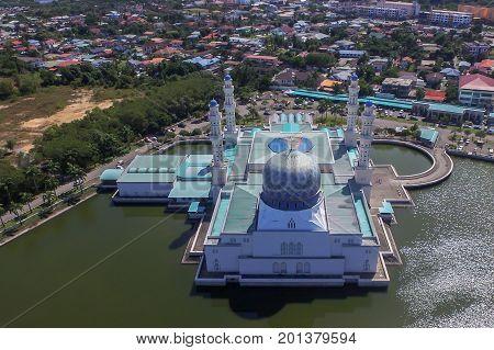 Kota Kinabalu,Sabah,Malaysia-Jan 23,2017:Aerial view Kota Kinabalu State Mosque during sunny in Kota Kinabalu,Sabah,Borneo,Malaysia.The design shares some similarities to Medinah Masjid An Nabawi.