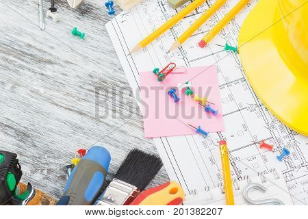 Different Construction Tools, Wooden Background