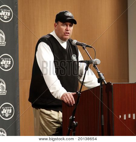 EAST RUTHERFORD - DECEMBER 12: New York Jets Coach Rex Reed at a postgame press conference after losing to the Miami Dolphins 10-6 at Meadowlands Stadium on December 12, 2010 in East Rutherford, NJ.
