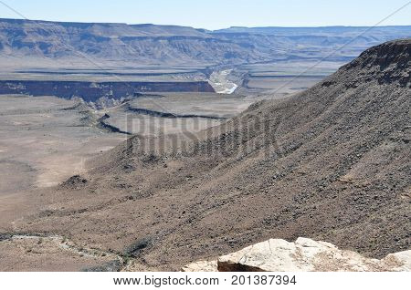 Fish River canyon in Namibia; the Grand Canyon of Africa. Lookout point.