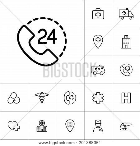 24 Hour, Around The Clock Call Suppot Icon On White Background