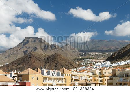 Los Cristianos And Mountains, Tenerife, Spain