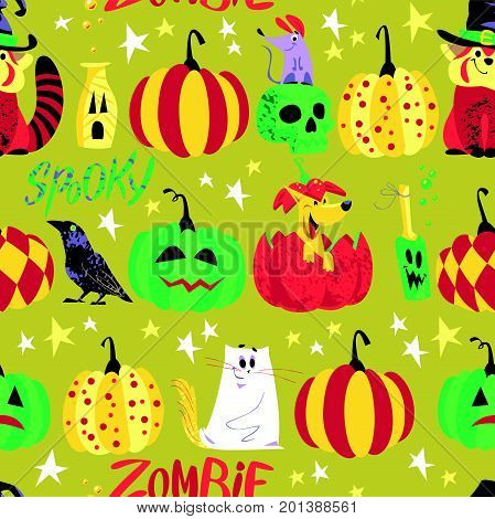 Vector seamless Halloween pattern with magic traditional elements isolated - panda bear in witch hat, pumpkin, stars, spooky cat, lettering. Advertising, media, cards design, packaging paper.