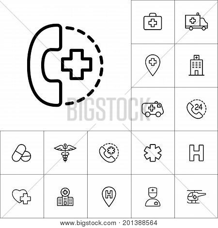 24 Hour, Around The Clock Medical Call Suppot Icon On White Back