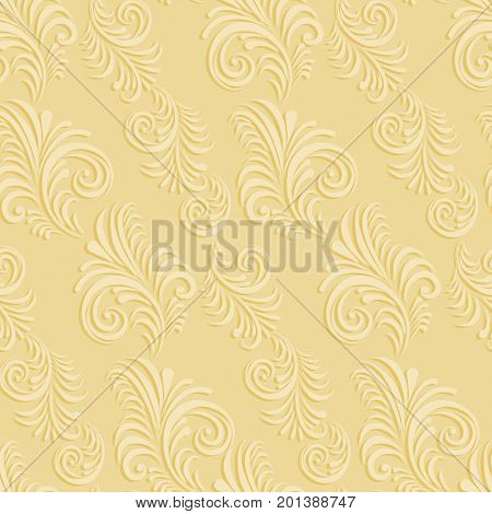 Volumetric seamless floral pattern background. Paper cut out seamless floral pattern.