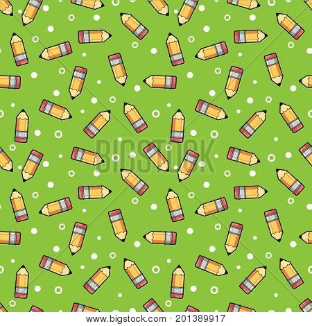 Pattern yellow pencil wooden and pink eraser on a green background. Pattern orange pencil isolated and pink eraser flat