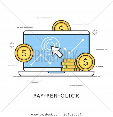 Pay per click, internet marketing. Flat line art style concept. Vector banner, icon, illustration. Editable stroke.