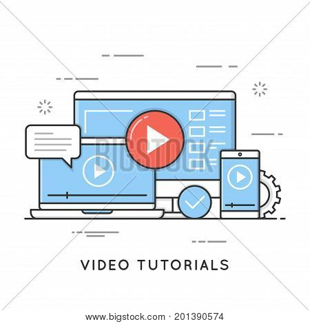 Video tutorials, online training and learning, webinar, distance education. Flat line art style concept. Vector banner, icon, illustration. Editable stroke.