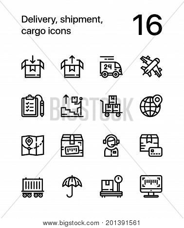 Delivery, shipment, cargo icons for web and mobile design