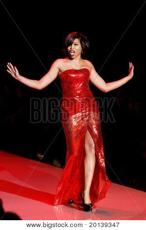 NEW YORK - FEBRUARY 9: Actress Taraji P. Henson walks the runway for the Heart Truth's Red Dress Collection during Mercedes-Benz Fashion Week at Lincoln Center on February 9, 2011 in New York City.