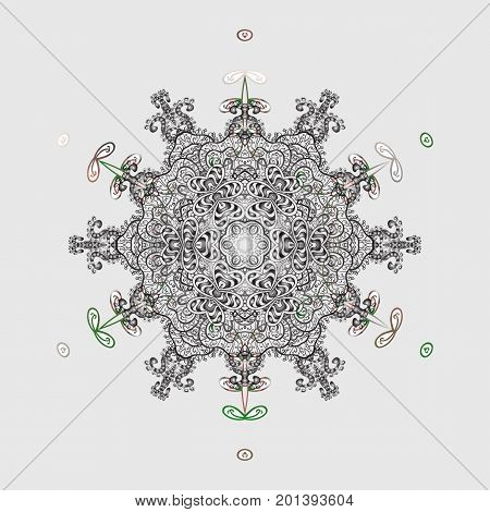 Vector illustration. Snowflake ornamental pattern. Snowflakes pattern. Snowflakes background. Flat design with abstract snowflakes isolated on colorful background.