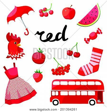 Red. Learn the color. Education set. Illustration of primary colors. Vector illustration