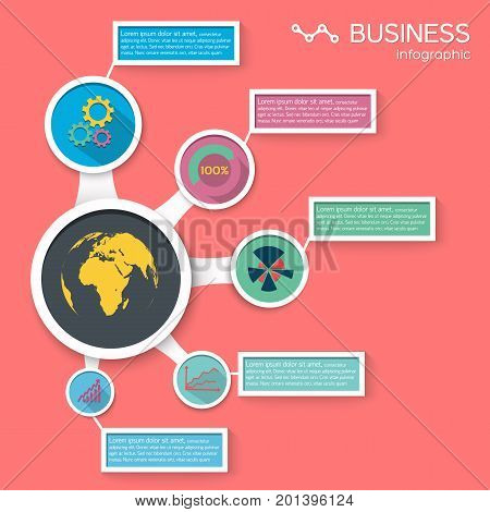 Business infographic elements with diagram text blocks and icons in flat style isolated vector illustration