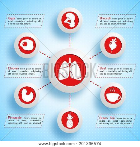 Healthy lifestyle infographics with food icons valuable for human lungs on blue dotted light background vector illustration