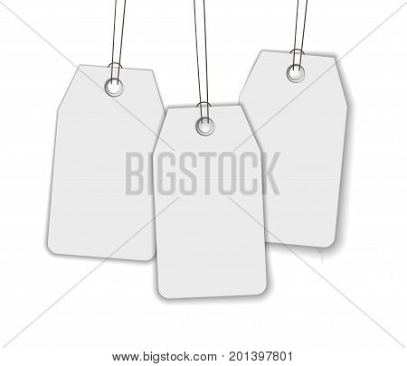 Blank price sale tag composition isolated on dark background with soft shadow. Realistic vector mock up for sale, promo advertising. Price label