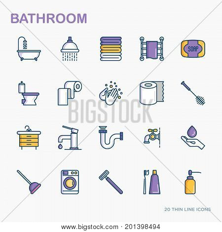 Bathroom equipment thin line icons. Hygiene, purity, beauty, plumber related icons. Vector illustration.