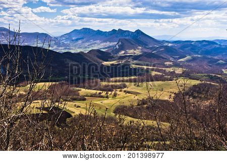 Meadows and peaks,  Homolje mountains landscape on a sunny day in early spring, east Serbia
