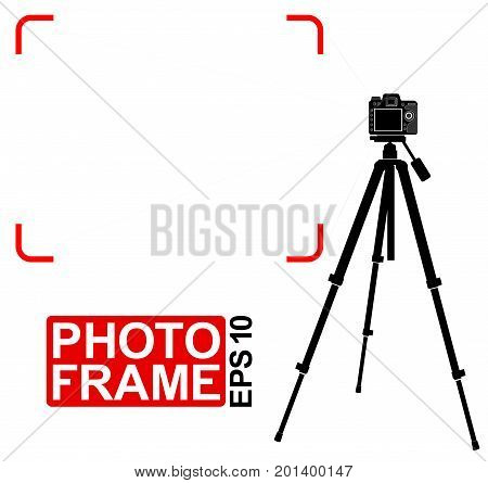 Silhouette Of A Specular Camera On A Tripod. Frame Marks. Place For Text Or Photo.