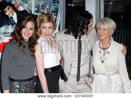 NEW YORK - APRIL 5: Jennifer Garner, Greta Gerwig, Russell Brand and Helen Mirren attend the New York premiere of 'Arthur' at the Ziegfeld Theatre on April 5, 2011 in New York City.