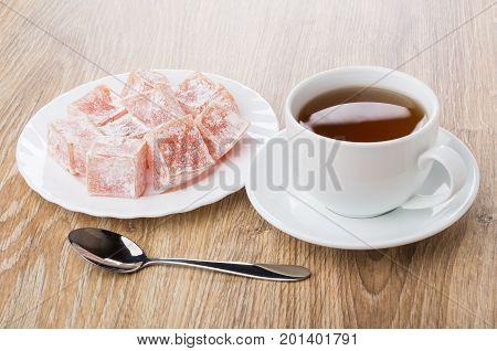Cup Of Tea, Plate With Rakhat-lukum And Teaspoon