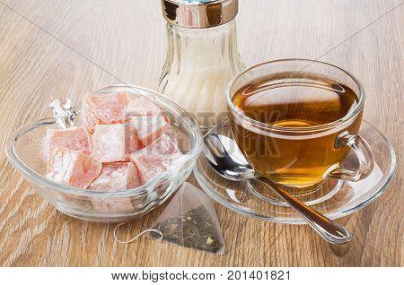 Cup Of Tea, Sugar Bowl, Bowl With Rakhat-lukum
